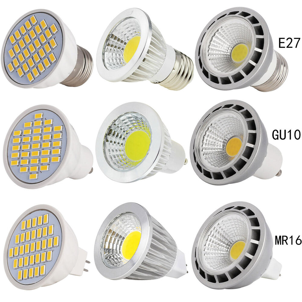 e27 gu10 mr16 dimmable led spot light bulb 4 5w 6w 9w 12w 15w smd cob white lamp ebay. Black Bedroom Furniture Sets. Home Design Ideas