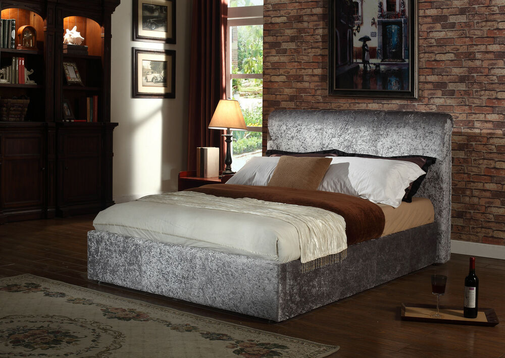 5ft king rome crushed velvet fabric upholstered bed frame. Black Bedroom Furniture Sets. Home Design Ideas