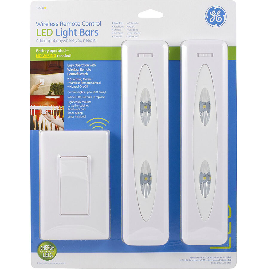 GE 17528 Battery-Operated Wireless Remote-Control LED Light Bars, 12 ...