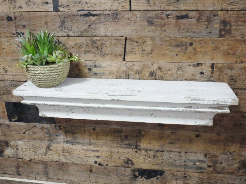shabby chic vintage style distressed antique white cream wooden floating shelf ebay. Black Bedroom Furniture Sets. Home Design Ideas