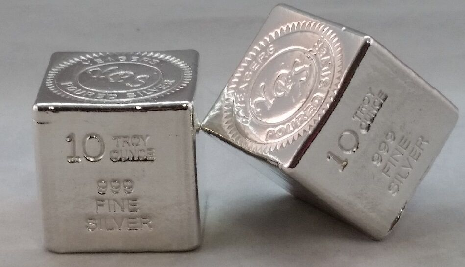 10 Oz Hand Poured 999 Silver Bullion Bar By Yeagers Poured
