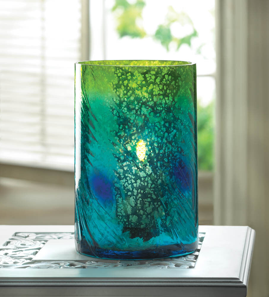 Teal blue peacock mercury glass cylinder candle holder