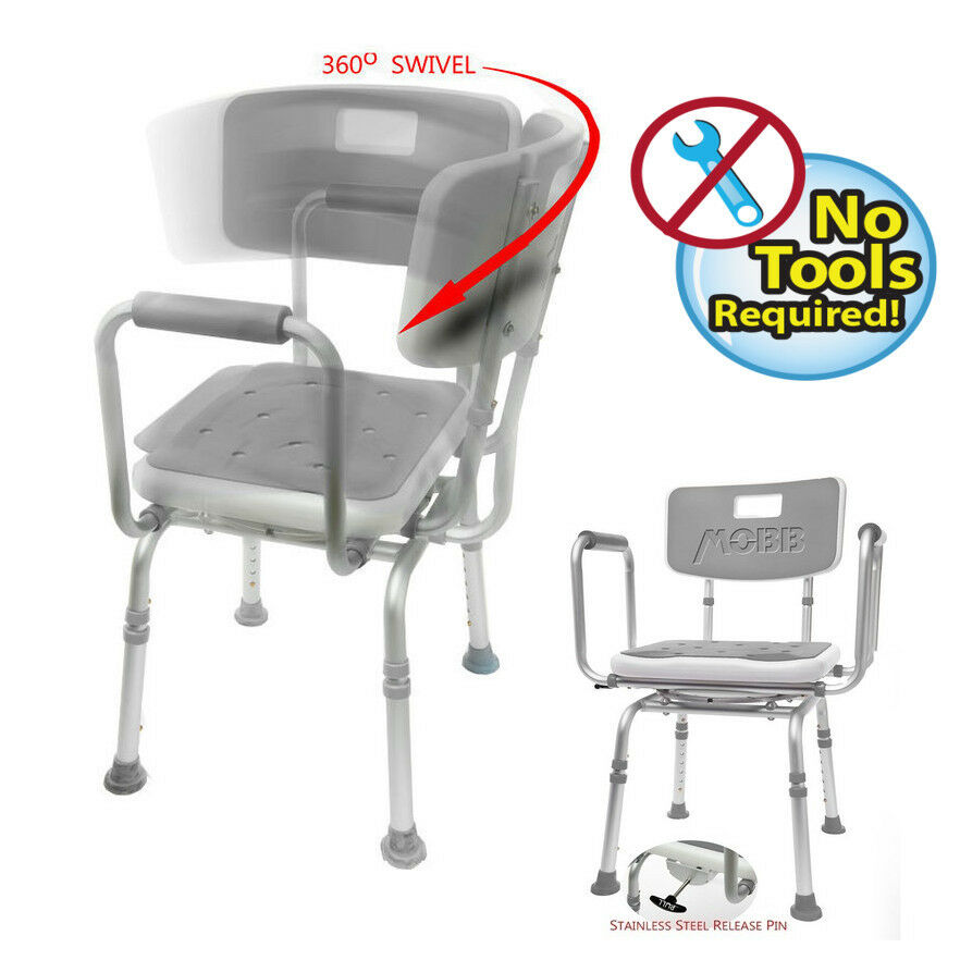 SWIVEl Shower Chair W/PADDED Seat Adjustable