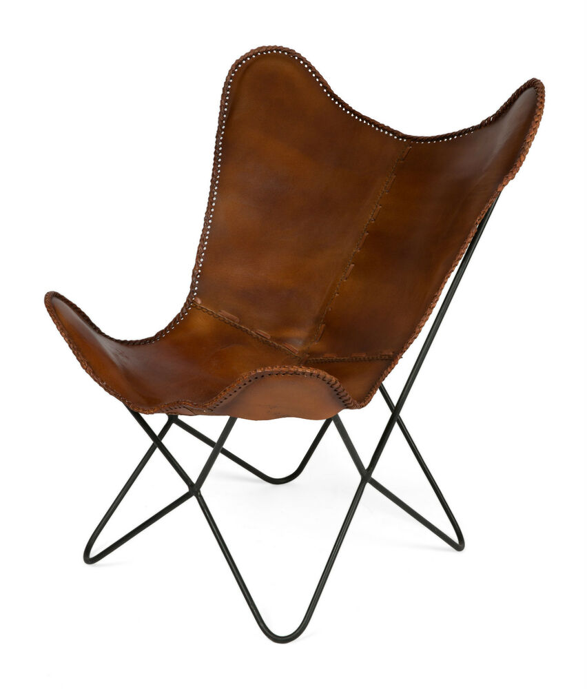 39 casa uno 39 new charlie iron and tan leather butterfly chair rrp ebay. Black Bedroom Furniture Sets. Home Design Ideas