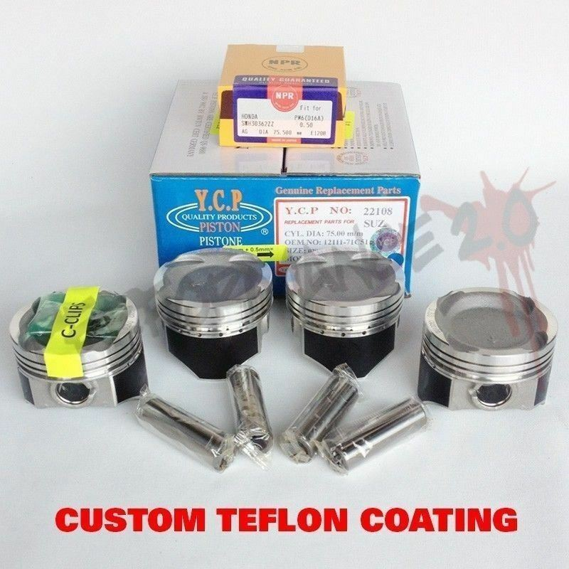 75.5mm D16 YCP Vitara TURBO Pistons & NPR Rings TEFLON