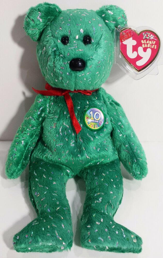Ty Beanie Babies Quot Decade Green Quot 10th Anniversary Teddy