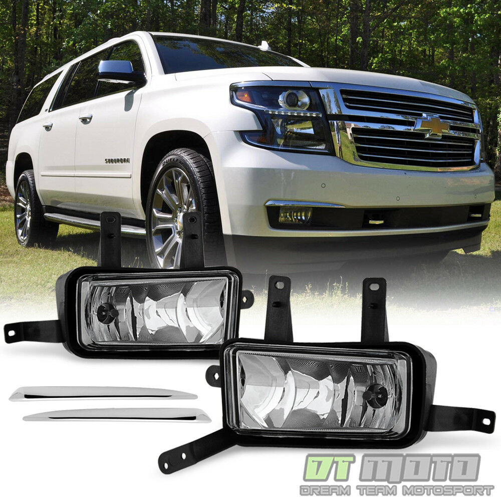 2015 2018 Chevy Suburban Tahoe Fog Lights Lamps W Chrome