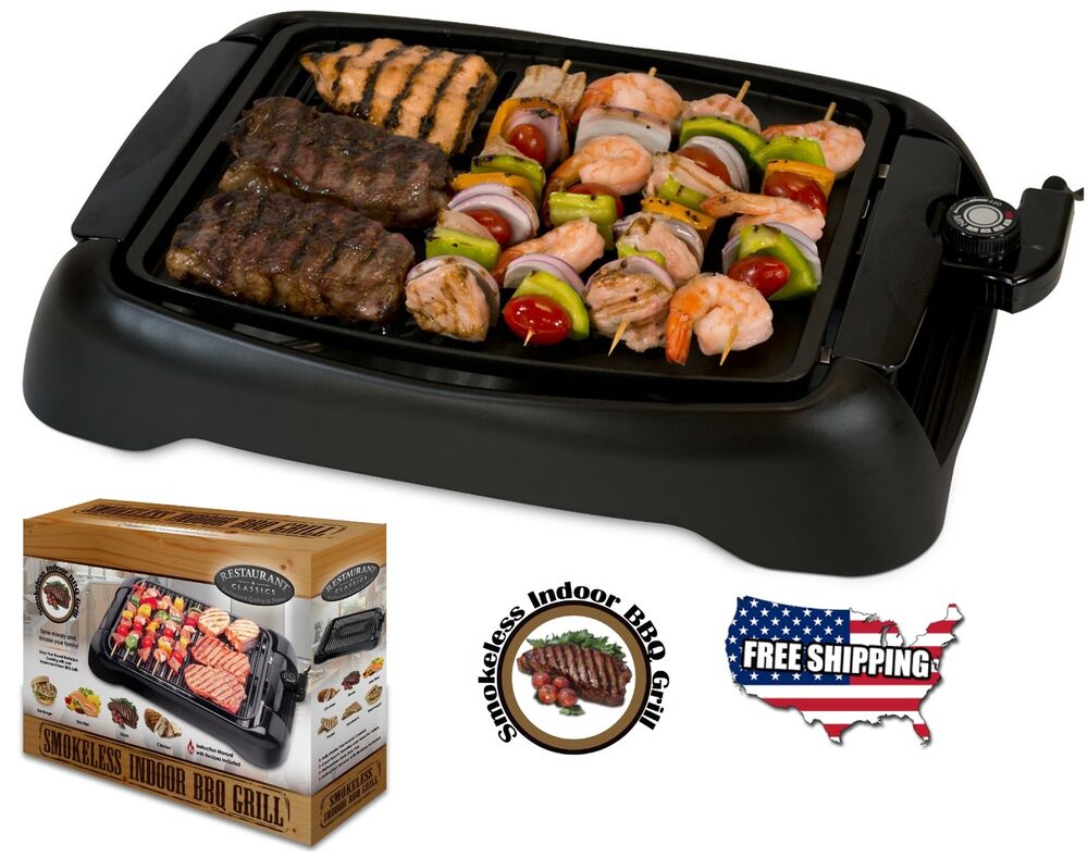 Smokeless Indoor Electric Grills ~ Electric smokeless grill indoor bbq non stick cooking