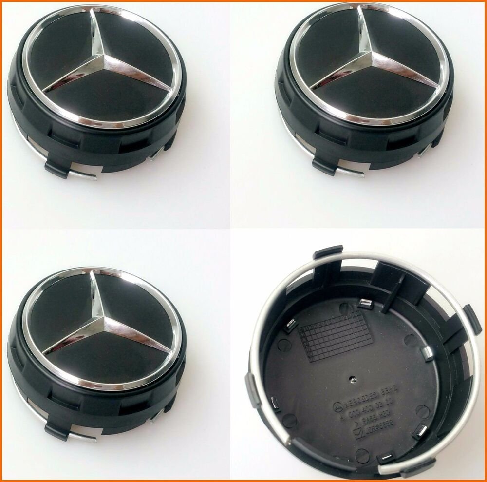 4x 75mm mercedes benz wheel caps amg set emblem logo for c for Mercedes benz wheel cap emblem
