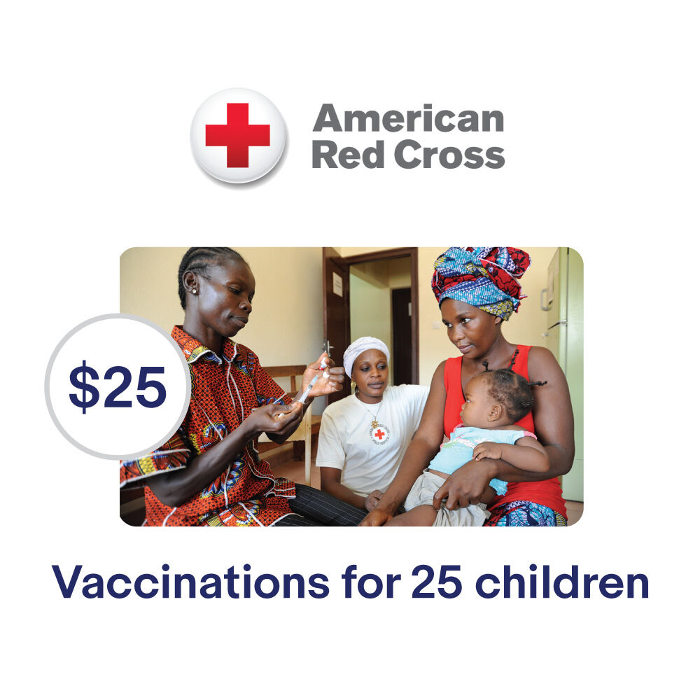 american red cross 25 vaccinations for children symbolic charitable donation ebay. Black Bedroom Furniture Sets. Home Design Ideas