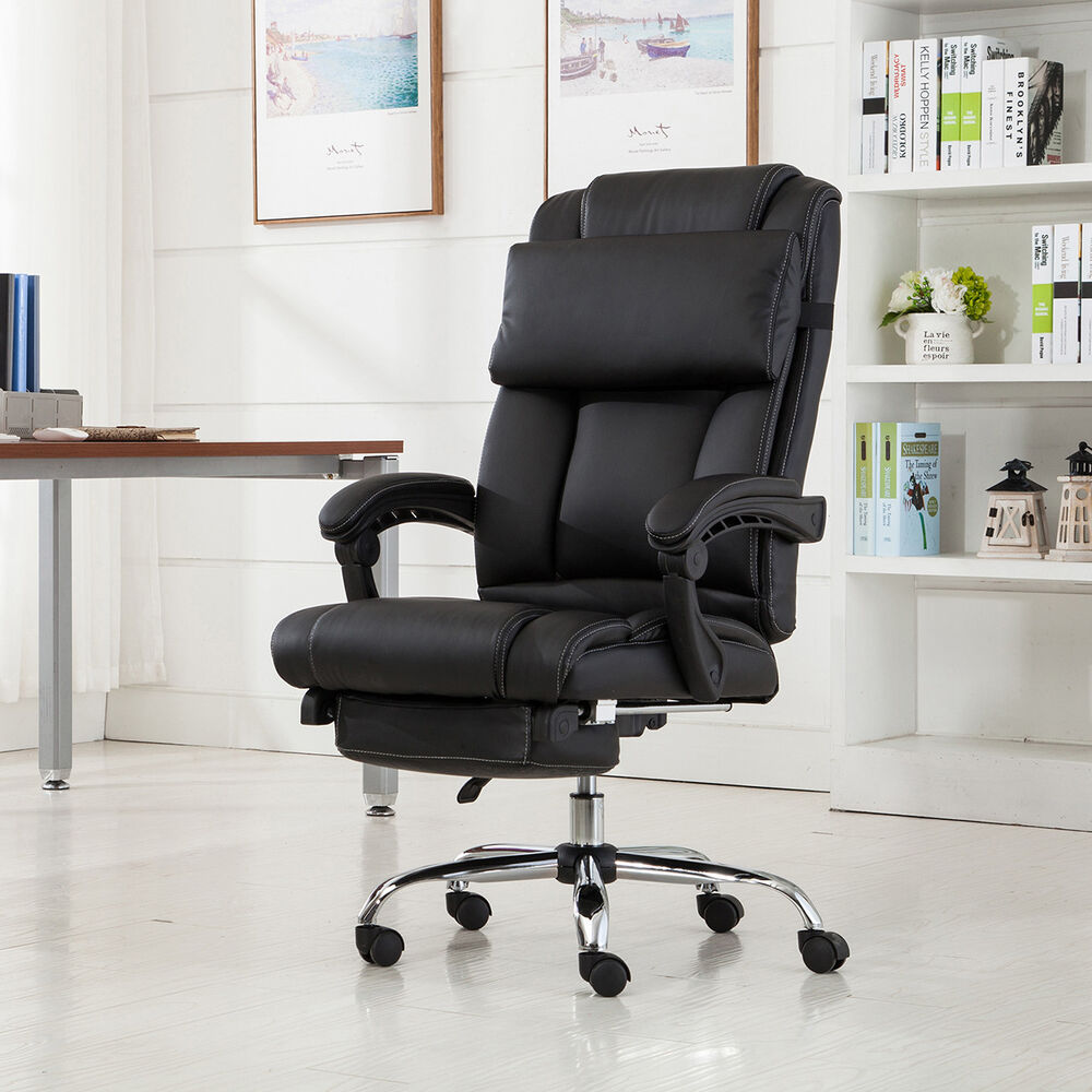 executive office chair ergonomic armchair reclining high back leather footrest 696453456053 ebay. Black Bedroom Furniture Sets. Home Design Ideas