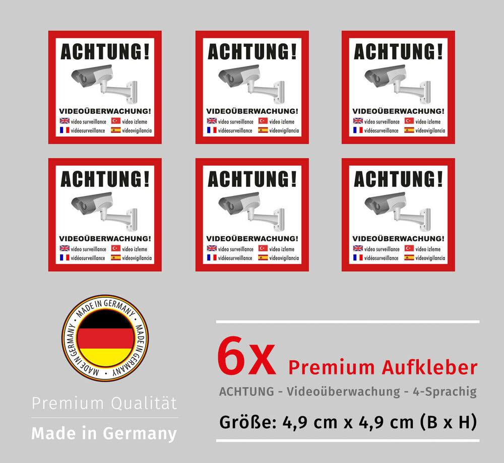 6x achtung video berwachung aufkleber alarmanlage mit uv schutz security ebay. Black Bedroom Furniture Sets. Home Design Ideas