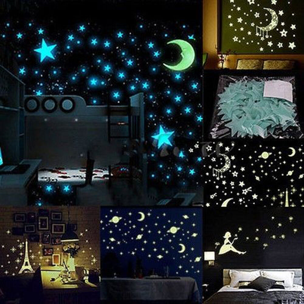 Luminous glow in the dark stars moon stickers baby kid for Luminous bedroom
