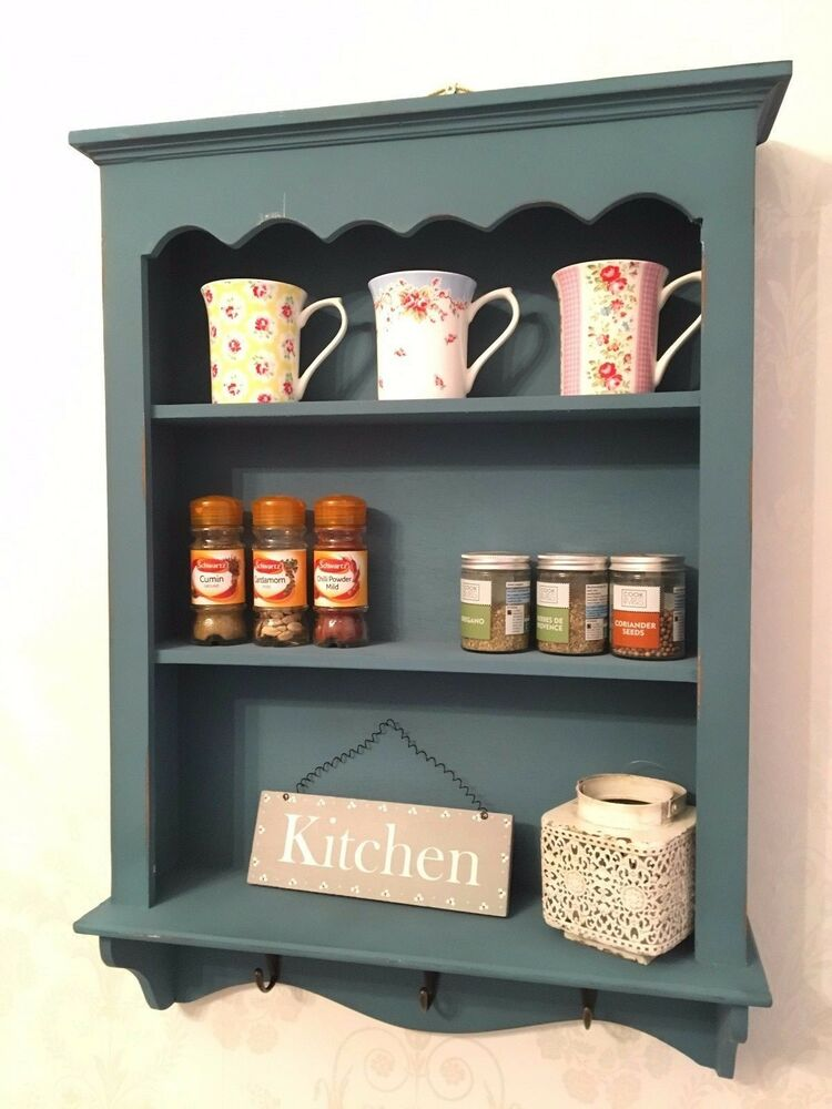 Shabby chic cabinet wooden wall unit vintage display for Off the shelf kitchen units