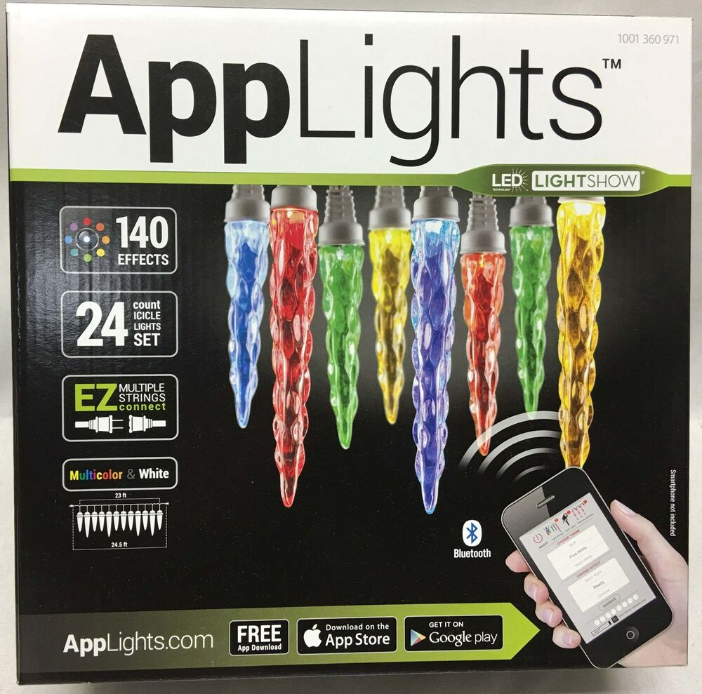 Home Accents Holiday 300 L Led Smooth Mini Light Multi: Gemmy APPLIGHTS 24 Icicle Christmas 140 Effects LED Phone