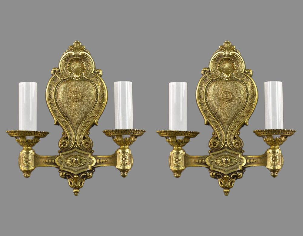 French Styled Vintage Gold Sconces c1930 Ornate Antique Wall Lights eBay