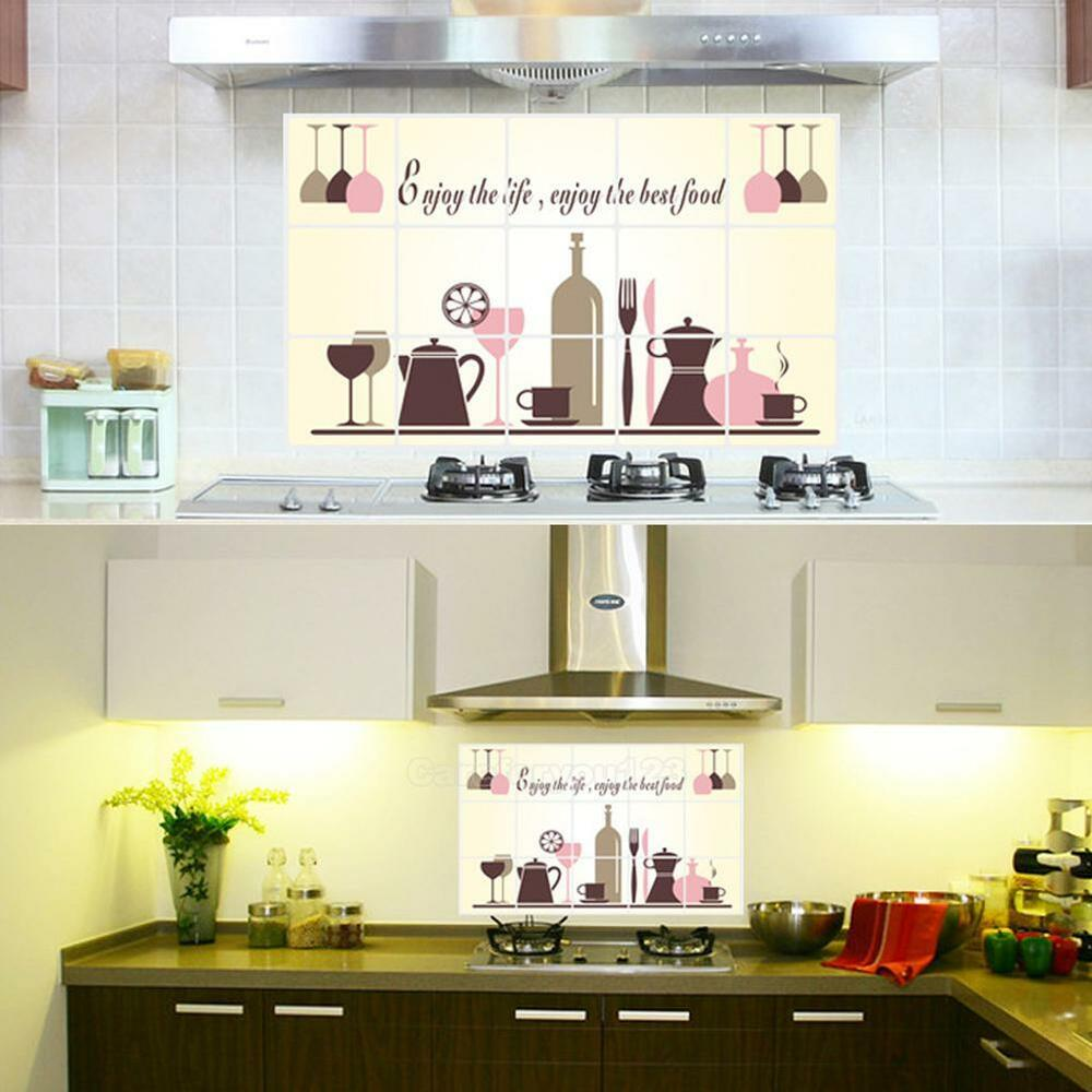 Kitchen Accessories Hanging: Wine Glass Coffee Cup Pot Kitchen Oil Proof Decor Wall