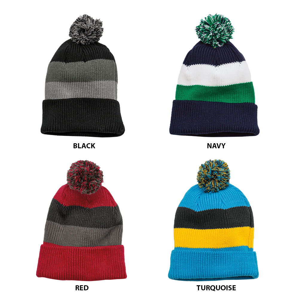 149222ac658 Details about Vintage Striped Acrylic Winter Beanie Hat with Removable Pom