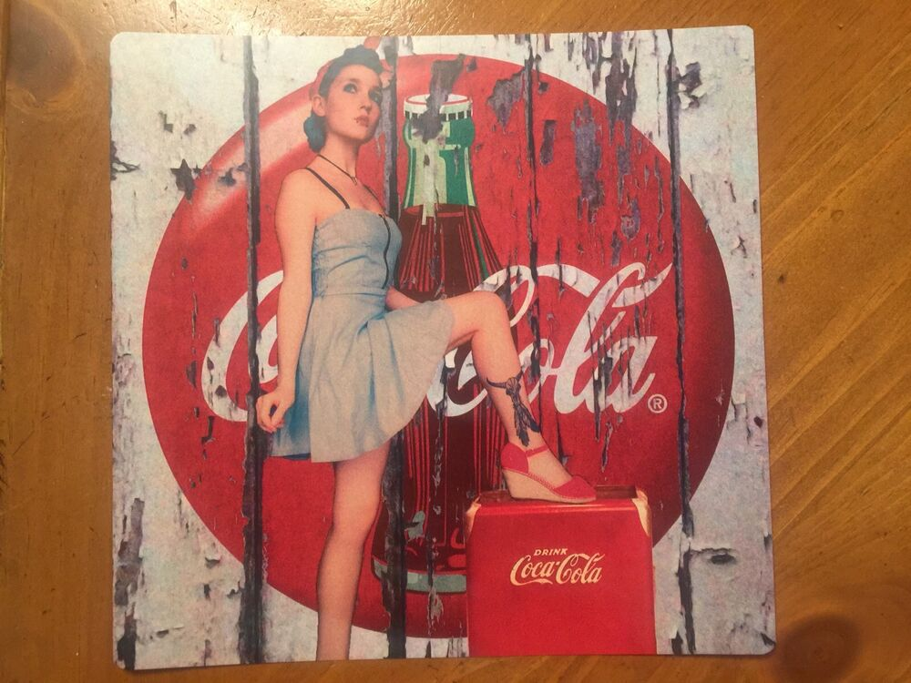 Tin sign vintage coca cola wooden background with pinup girl ebay - Vintage coke wallpaper ...
