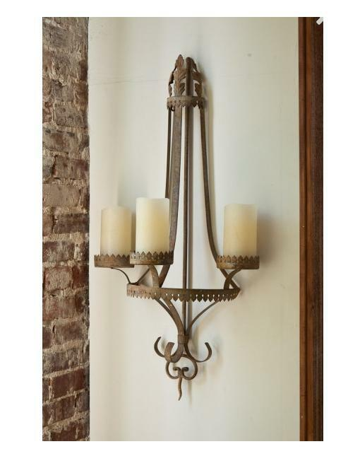 French Farmhouse Style Metal Wall Sconce Candleholder
