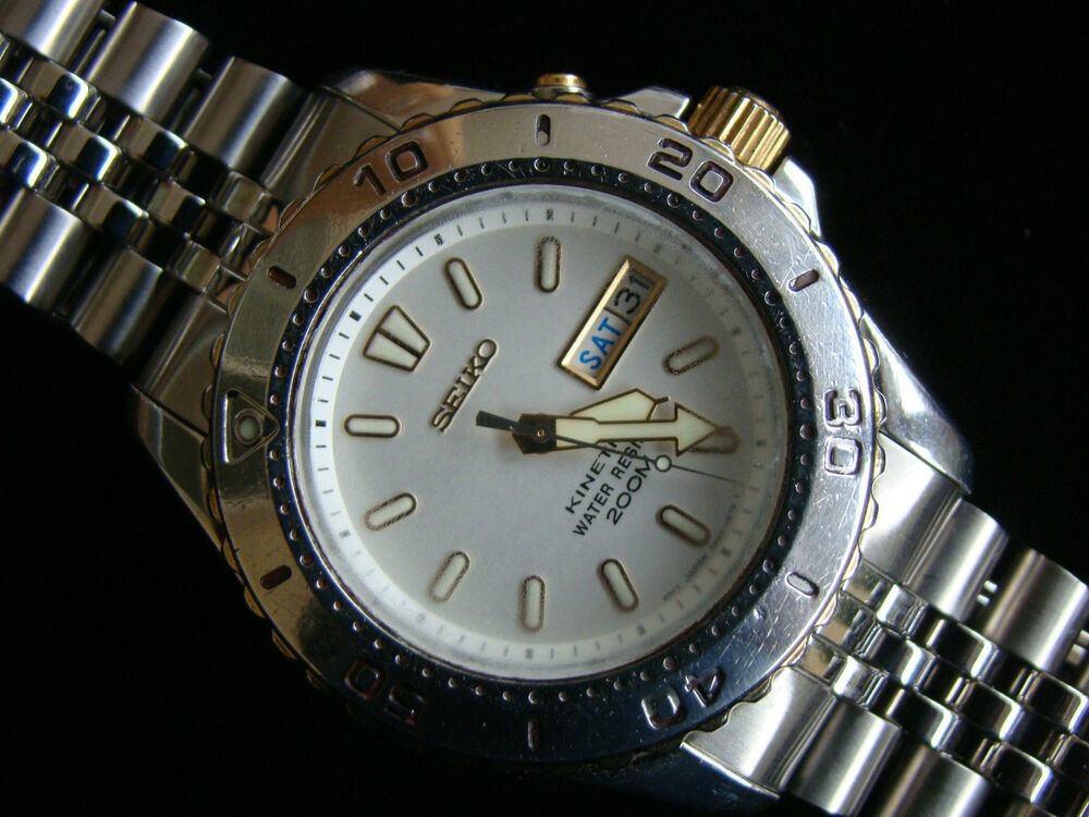 Seiko ss g sports 200 5m43 0d20 kinetic divers watch box set spare capacitor ebay - Seiko dive watch history ...