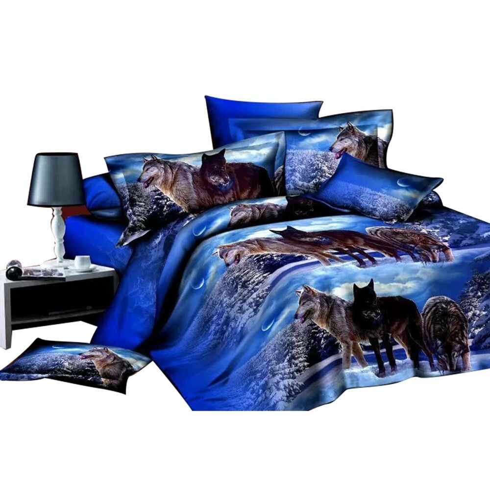 Hide A Bed Sheets: 3D Wolf Printed Queen Size Duvet Cover Pillow Case Bed
