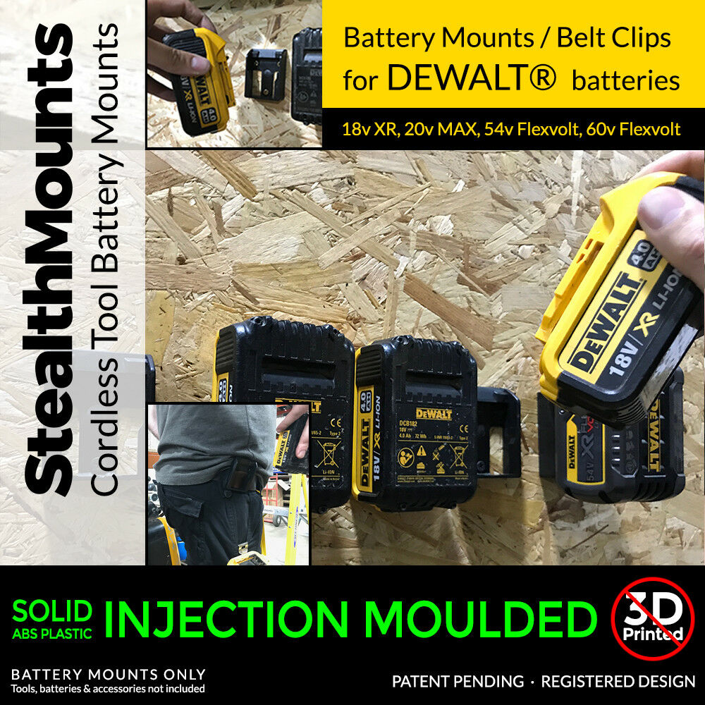 2x Stealth Battery Mounts For Dewalt Xr Li Ion Batteries