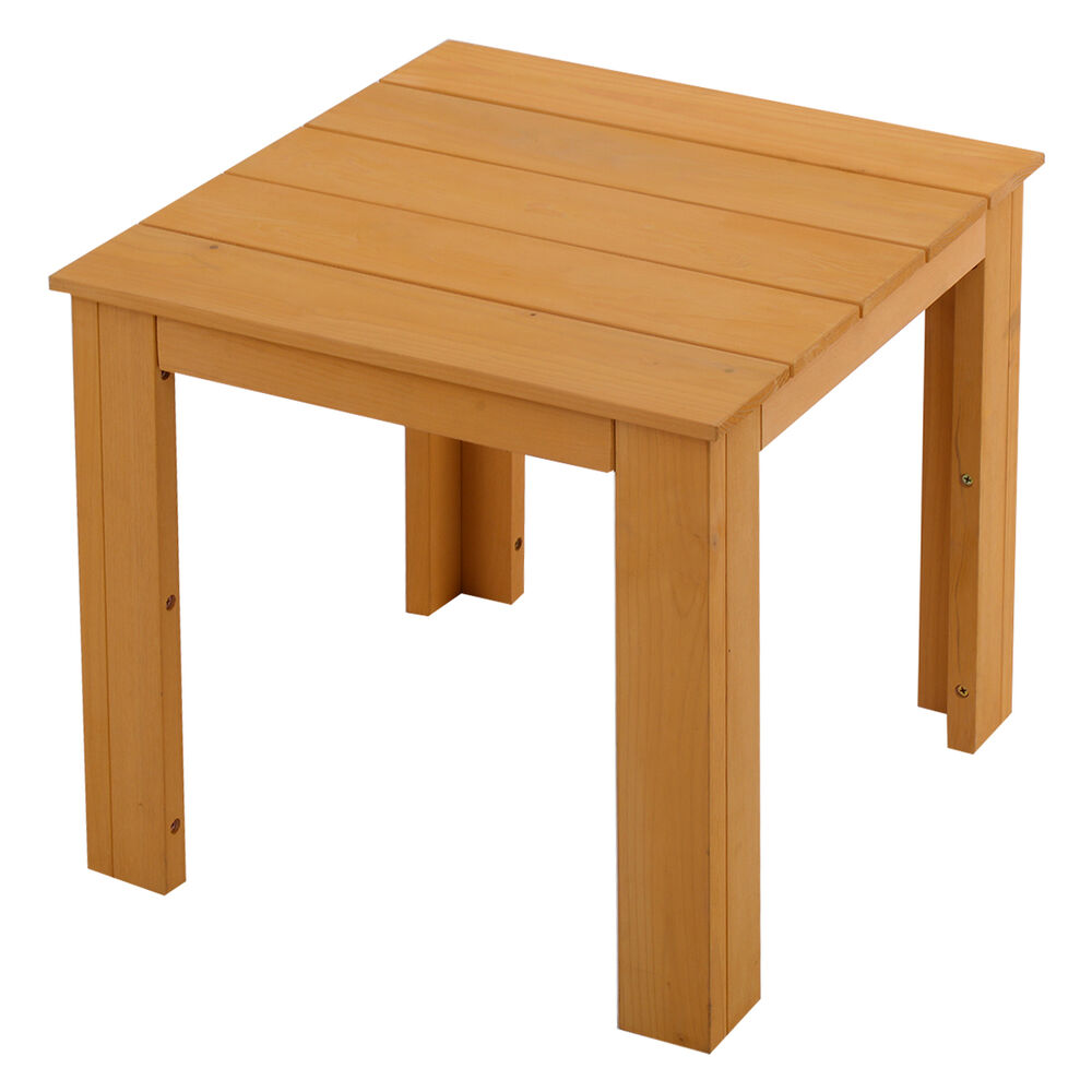 Small end table wood tea coffee side table indoor outdoor for Black wood coffee table and end tables