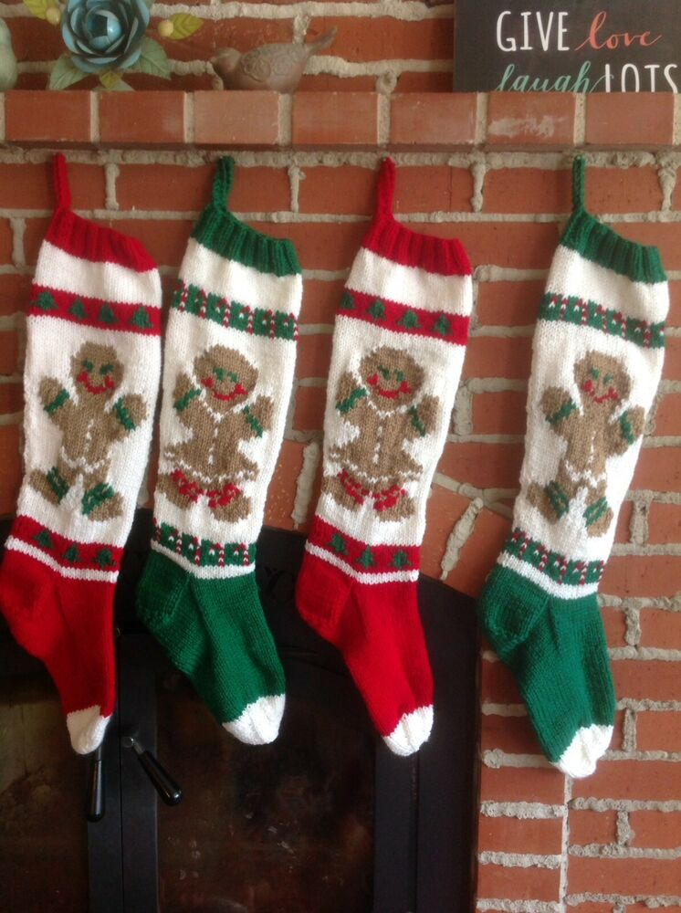Personalized Hand Knit Christmas Stocking Ebay