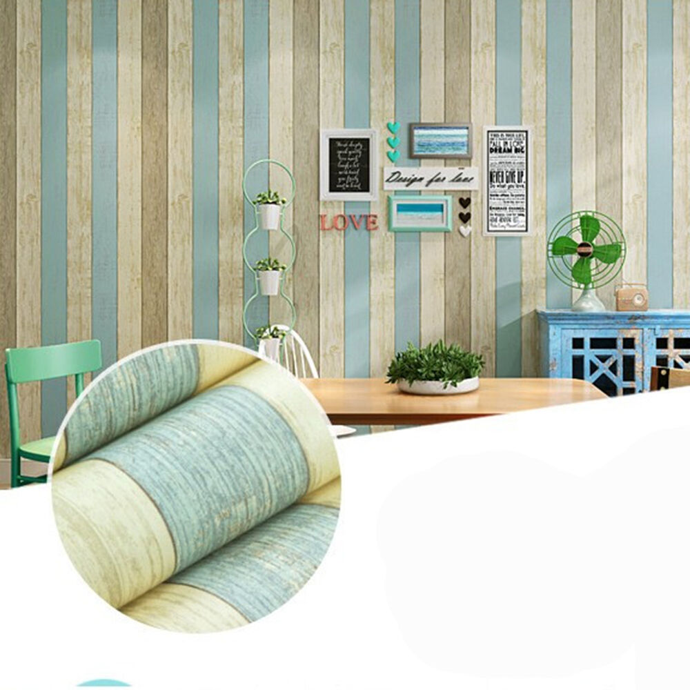 Mediterranean self adhesive wood strip wallpaper sticker for Home wallpaper ebay