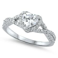 .925 Sterling Silver Heart Clear CZ Fashion Promise Ring Size 4-12 NEW