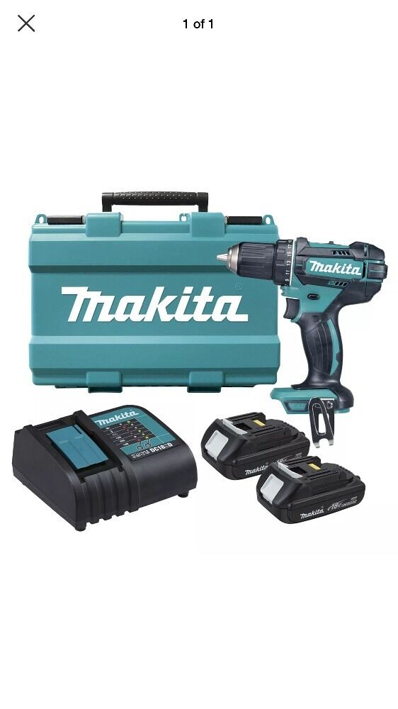 makita 18v li 2 x 1 5ah cordless drill driver kit ebay. Black Bedroom Furniture Sets. Home Design Ideas