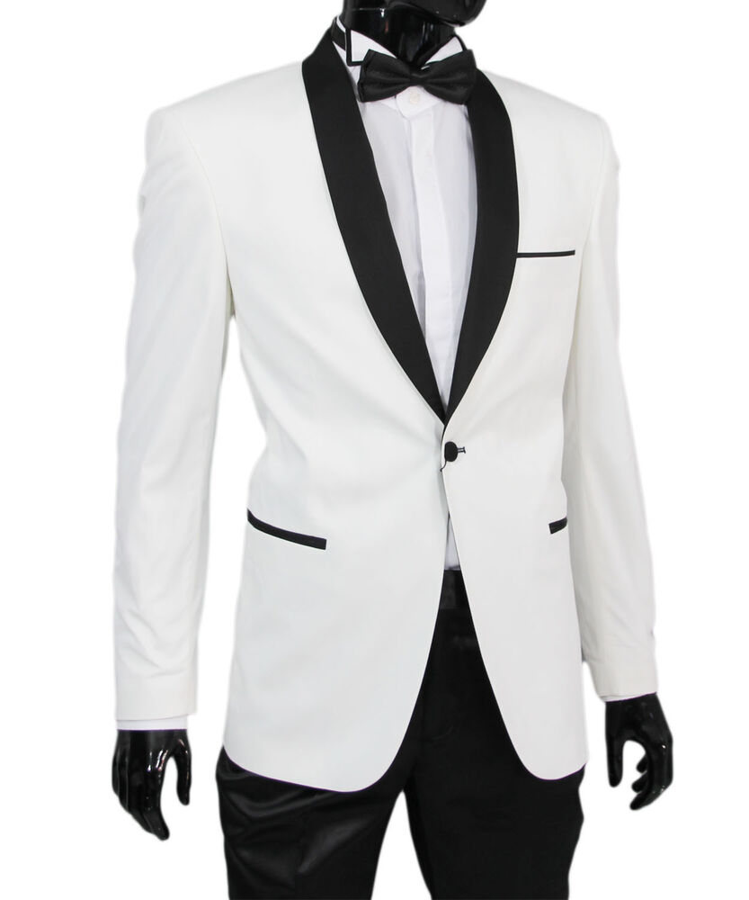 slim fit herren smoking in weiss anzug hochzeit b hne sakko ebay. Black Bedroom Furniture Sets. Home Design Ideas