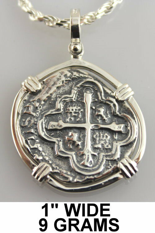 1622 atocha pendant 2 reale bezel silver pirate spanish for Key west jewelry stores