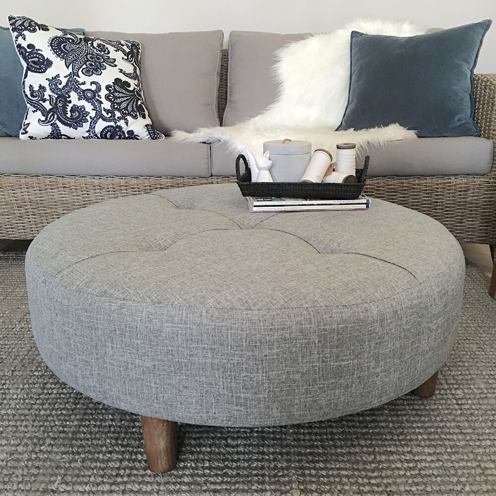 Large 90cm Grey Round Ottoman Coffee Table Tufted Hampton