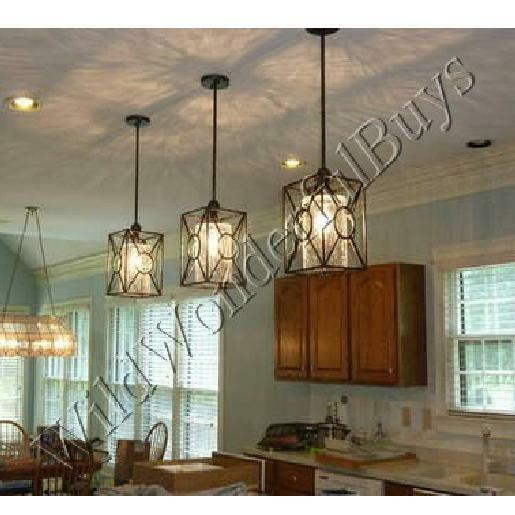 Kitchen Lighting Fixture Sets: Set 3 Crackle Glass Pendant Kitchen Island Light Farmhouse