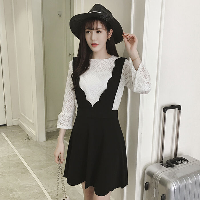 2017 Woman Fashion Korean Spring Puff Sleeve Lace Two Pieces Jumper Dress Set Ebay