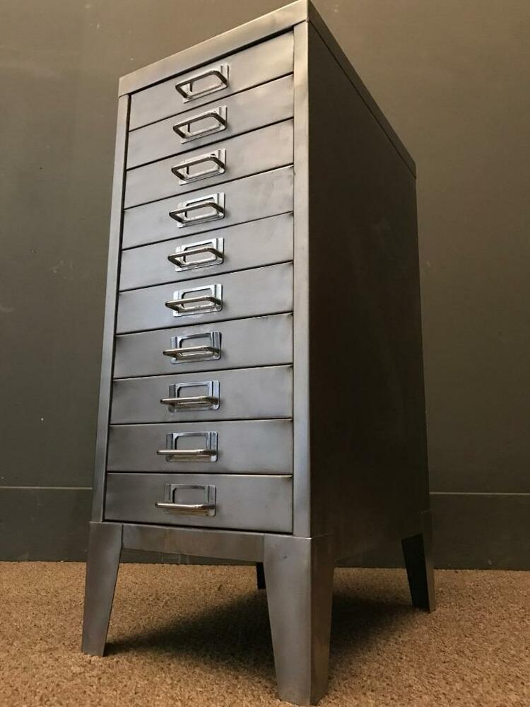 industrial file cabinet vintage industrial stripped metal 10 drawer filing cabinet 17831