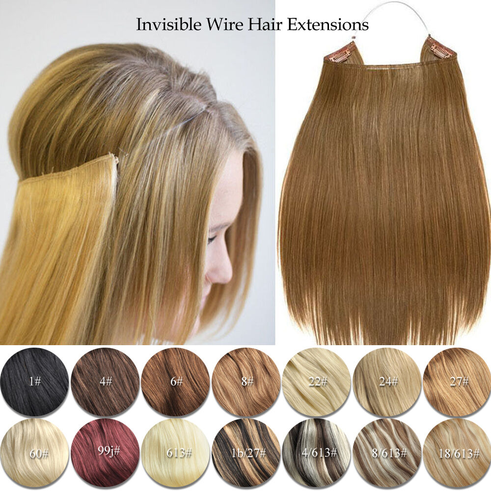 Elastic Invisible Wire Hair Extensions Halo Style Remy Human Hair