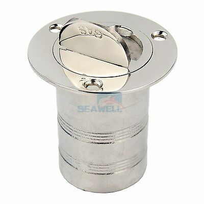 Marine Keyless Boat Fuel Gas Deck Fill / Filler Stainless Steel 316 - 2