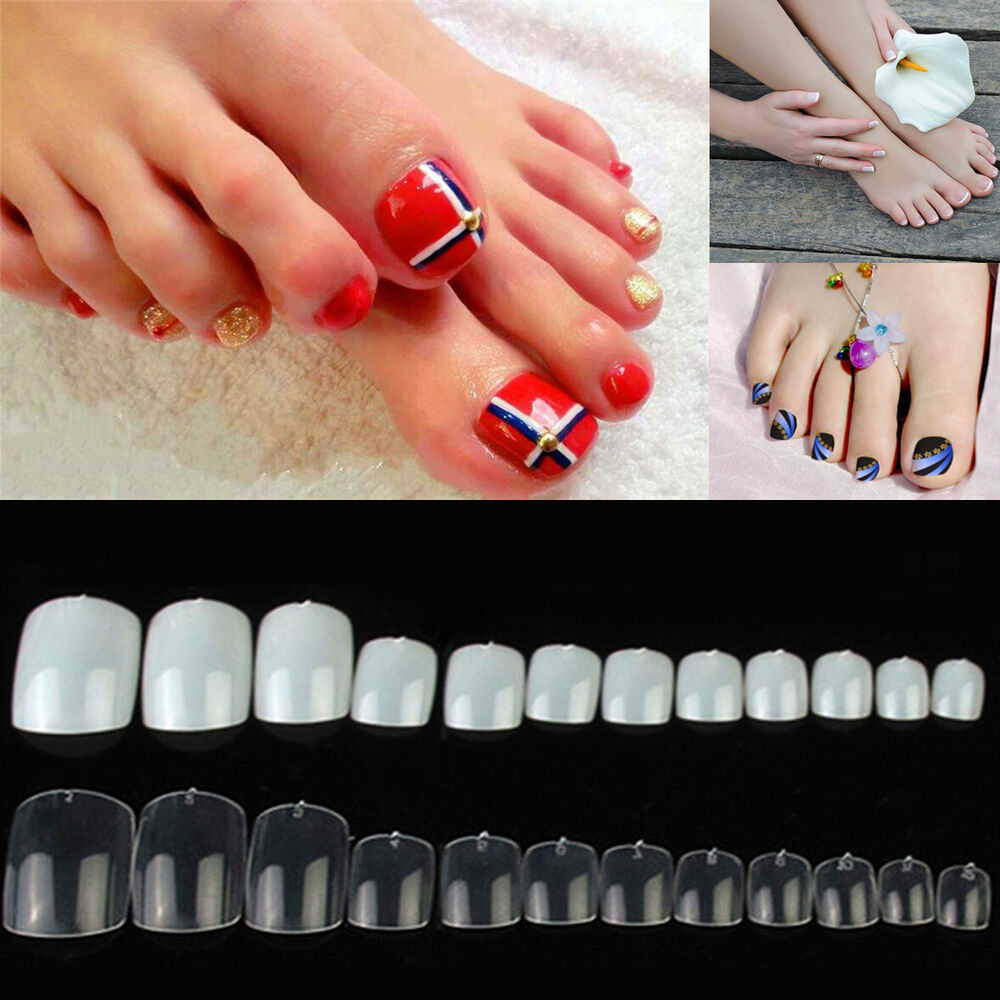 Book Cover Nail Art : Pcs toe nails full cover natural clear tips pedicure