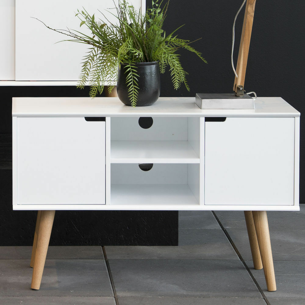 small white sideboard stand tv unit storage cabinet vintage retro home furniture ebay. Black Bedroom Furniture Sets. Home Design Ideas