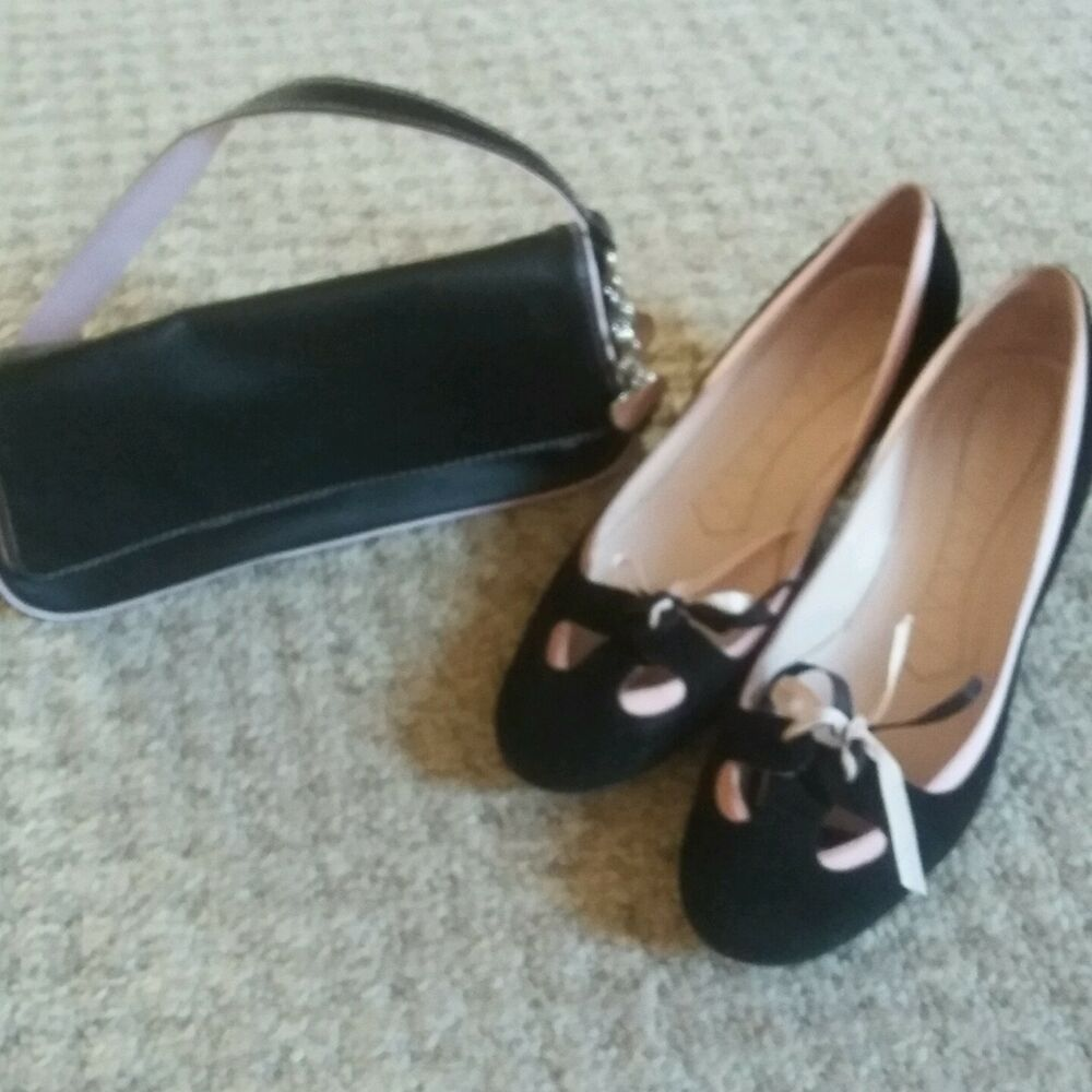 pink and black shoes with matching clutch bag ebay