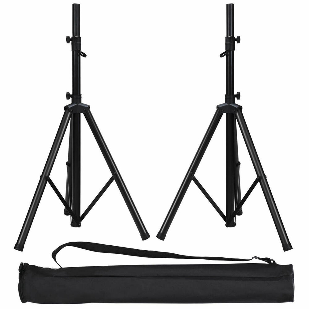 pair 38 74 height adjustable tripod dj pa speaker stands black w carry bag 695976191076 ebay. Black Bedroom Furniture Sets. Home Design Ideas