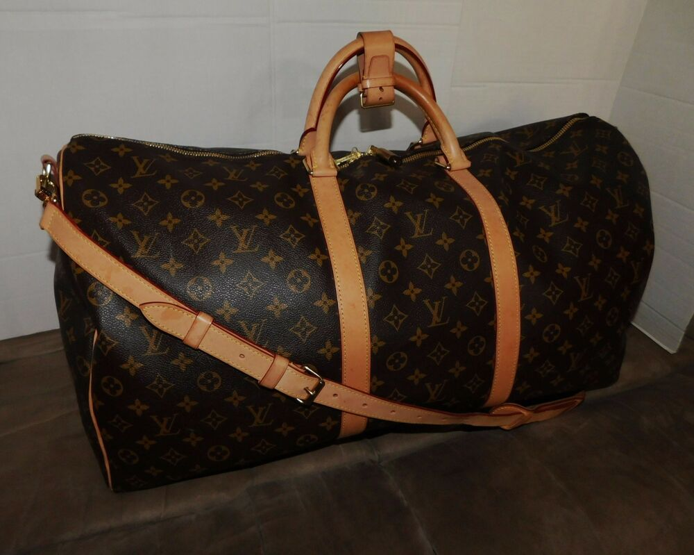 louis vuitton keepall bandouliere 60 duffle travel bag luggage m41412 authentic ebay. Black Bedroom Furniture Sets. Home Design Ideas
