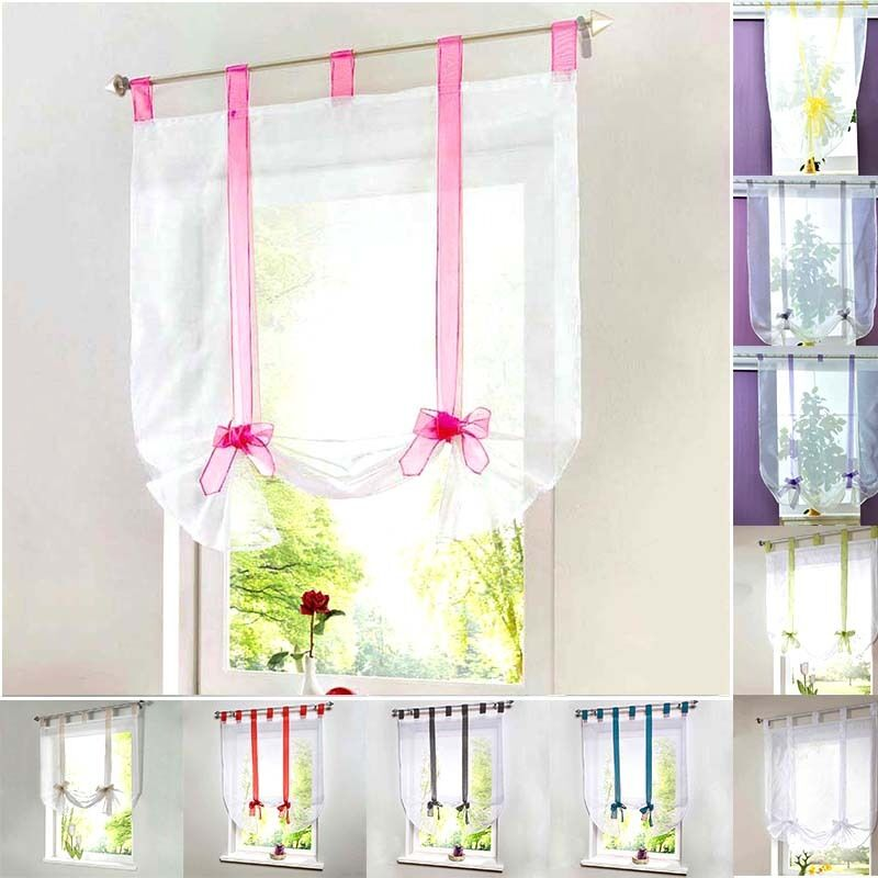 Modern tulle window treatments sheer curtains living room kitchen panel valances ebay - Modern valances for kitchen ...