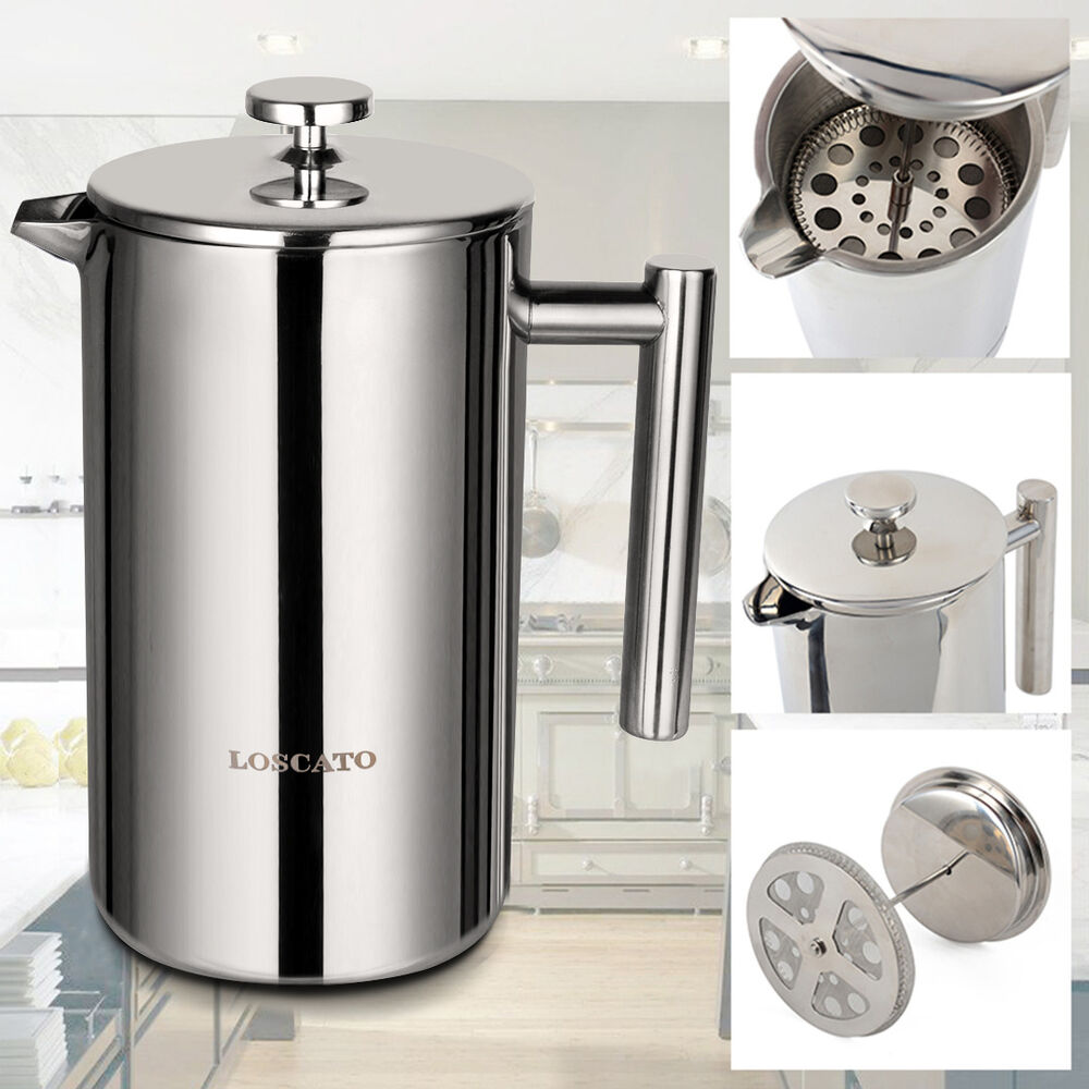 French Press 8 Cup Coffee Maker Stainless Steel Double