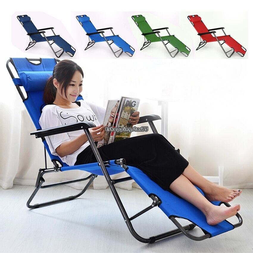 Outdoor Lounge Chair Multicolor Folding Recliner Reclining