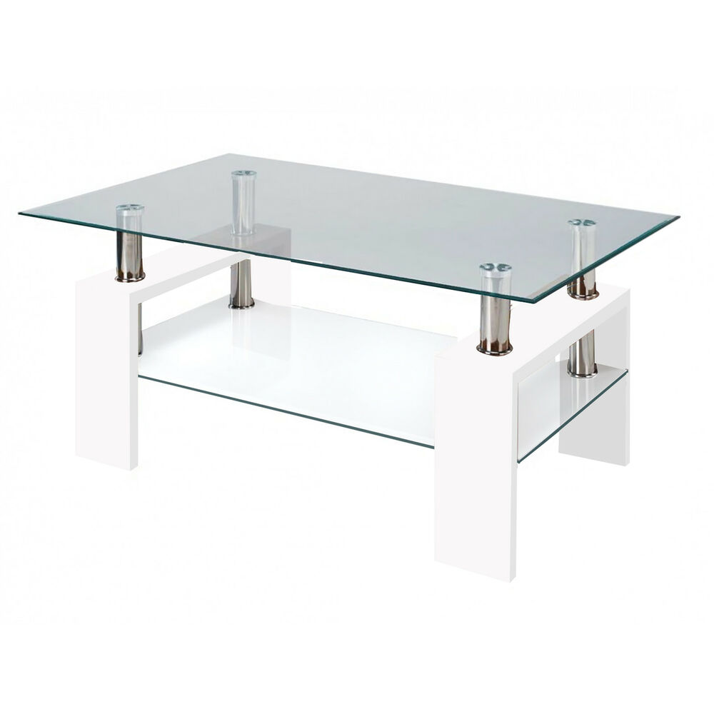 Contemporary Coffee Table Glass Top: Fab Glass And Mirror Modern Glass Coffee Table W/ Shelf