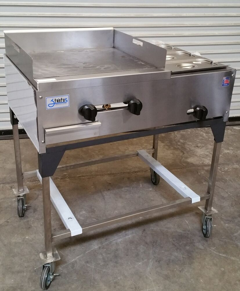 New 36 Quot Taco Cart Griddle Amp Steam Table On Wheels Propane